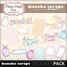"Buncha Scraps ""Hippity Hoppity"" Digital Word Art & Tags Collection"