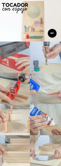 Tocador con espejo ➜  Crea un tocador para poner sobre la mesa con un tablero de madera, listones y tubos de cobre. #Tocador #Madera #Cobre #DIY #Decoración #Bricolaje #Handfie