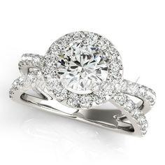 Classic split shank halo pave set 0.75-2.50ct round brilliant cut diamond engagement ring