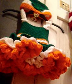 Beautiful handmade crocheted dress. In Irish flag themed colors. With a beautiful tiered Ruffled skirt