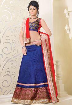 Blue Art Silk Lehenga Choli with Dupatta: LWK1552