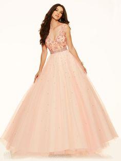Affordable V-neck Floor-length Open Back Tulle Beading Prom Dress #DMD020100901