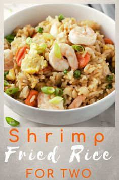 Shrimp Fried Rice is delicious easy and quick with fresh shrimp fried rice peas carrots and onions. Who needs take-out when you can have a fresh succulent shrimp dinner on the table in just 20 minutes? This recipe makes a fast lunch dinner or impre Rice Recipes, Seafood Recipes, Asian Recipes, Cooking Recipes, Healthy Recipes, Dinner Recipes, Easy Meals For One, Small Meals, Easy Shrimp Fried Rice Recipe