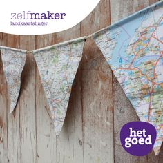 Van een oude landkaart kun je deze slinger maken. Map Projects, Projects To Try, Diy Presents, Diy Gifts, Diy Crafts For Kids, Arts And Crafts, Diys, Cool Websites, Diy Party