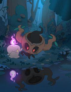 Artwork from the Pokemon universe. Ghost Type Pokemon, Pokemon Luna, All Pokemon, Pokemon Fan Art, Pokemon Stuff, Pokemon Images, Pokemon Pictures, Pokemon Comics, Anime Comics