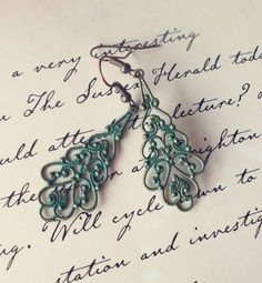 LAST PAIR - Gypsy Earrings - Verdigris Green Filigree Earrings - Green Chandelier Earrings - Cute Adorable Elegant Romantic Whimsical Dreamy by dreamsbythesea, $28.50