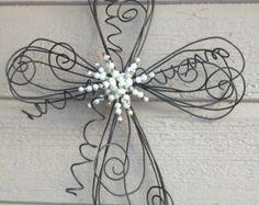 Medium Swirls and Twirls Twisted Wire Cross by trueheartcreations