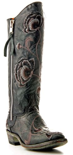 Womens Old Gringo Marsha Razz Boots Black And Grey #L468-6