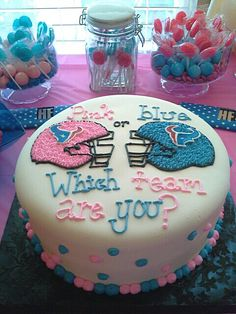 Gender Reveal Party Houston Texans cake for gender reveal party Gender Party, Baby Gender Reveal Party, Gender Reveal Football, Gender Reveal Themes, Gender Reveal Party Decorations, Houston Texans Cake, Texans Baby Shower, Christmas Gender Reveal, Reveal Parties