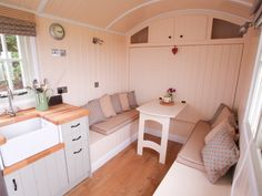 Riverside Shepherds Hut Great fold down bed. Can the cabinet be deep enough to leave the bed made? Tiny House Cabin, Tiny House Design, Fold Down Beds, Small House Living, India House, Shepherds Hut, Shed Homes, Cabins And Cottages, How To Make Bed