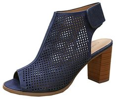 Cambridge Select Womens Laser Cut Slingback Stacked Heel Pump Bootie 7 BM US Blue >>> You can find out more details at the link of the image. (This is an affiliate link) Pump Shoes, On Shoes, Pumps, Heels, Comfy Shoes, Peep Toe, Cambridge, Booty, Stylish