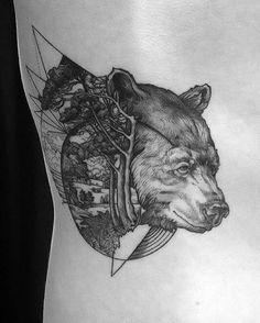 detailed bear tattoo idea on the side
