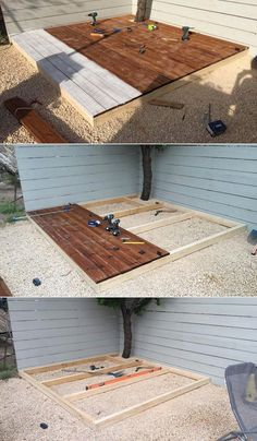 presents you with the idea of DIY pallet deck option for wood pallet transf. Fresh Backyard - Wood DIY Budget Plants Simple Layout Step by step guide to build a floating deck in one weekend Outdoor Grill Area, Small Outdoor Patios, Small Backyard Patio, Backyard Patio Designs, Backyard Ideas, Small Pergola, Modern Pergola, Pallet Patio Decks, Patio Diy