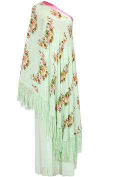 "Mint green lilly of the valley off shoulder tunic and sharara pants set."""" available only at Pernia's Pop Up Shop."