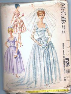 1960s Mad Men vintage pattern McCalls 6126 size 12 bust 32 misses bridal or bridesmaid dress Bride looks like Red.