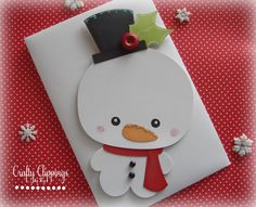 Snowman Greeting Card Handmade Christmas by CraftyClippingsbyPeg