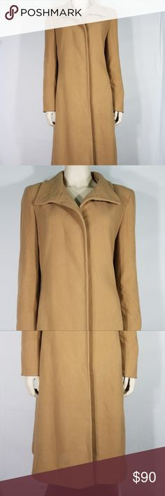 beige tan wool cashmere trench coat ladies size 8 ladies beige / tan button up trench coat / overcoat  Marvin Richards brand  size 8 (please refer to measurements below)  The shell is made from 70% wool, 20% nylon, 10% recycled cashmere; Lining is 100% polyester  excellent pre-owned condition! plenty of life left in it! Would make a great gift!  Measurements: Bust: 20 inches. Waist: 18 inches. Length (shoulder to bottom): 43.5 inches. Sleeve: 25 inches. Shoulder to Shoulder: 17 inches…
