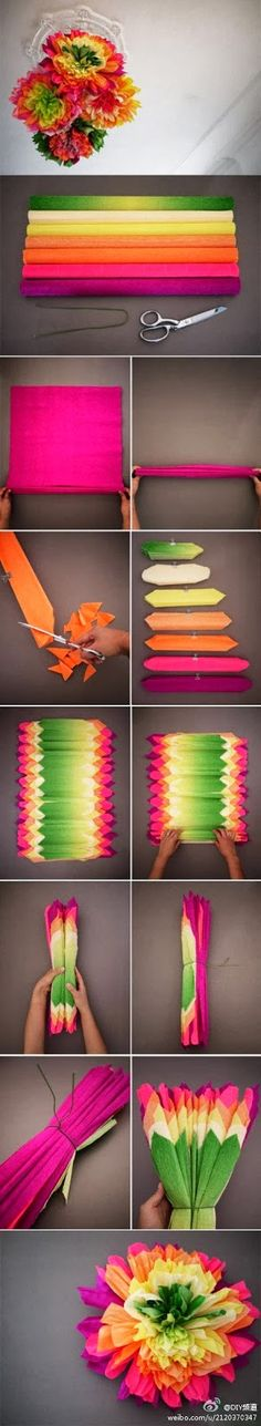 Easy DIY Crafts: DIY Big tissue paper flowers for parties and entertaining