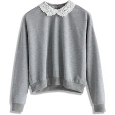 Chicwish Simple Grey Top with Crochet Collar ($42) ❤ liked on Polyvore featuring tops, grey top, grey, gray top, macrame top, collar top and crochet top