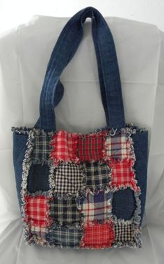 """Denim Purse Tote Rag Quilt front Handmade lined with matching Fabric 11""""  x 4"""" #Handmade #TotesShoppers"""