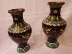 Chinese Cloisonne Double Dragon Vases Chasing Flaming Pearl 19th Century