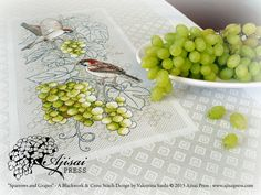 Sparrows and grapes - #blackwork and cross stitch #embroidery - Ajisai Press