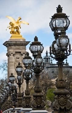 Beautifully Ornate Lanterns Adorn the Pont Alexandre III Bridge - Paris, France