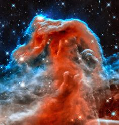 Space Image Horsehead Nebula orange red blue black. Digital enhanced picture from the universe that looks amazing as large print or poster: http://matthias-hauser.artistwebsites.com/featured/space-image-horsehead-nebula-orange-red-blue-black-matthias-hauser.html Credit for the original image: NASA, ESA, and the Hubble Heritage Team
