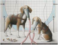"Jane Lewis ""Earthlings - Beagles"" (graphite and coloured pencil on paper) Jane Lewis, London College, Coloured Pencils, Vanitas, Art School, Dinosaur Stuffed Animal, Beagles, Religion, Graphite"