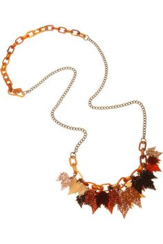 Fallen leaves long chain necklace