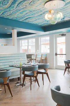 Ceiling & Pendants!!!!! (via House of Turquoise: Chair 5 Beach Bistro and Bar | Digs Design Company)