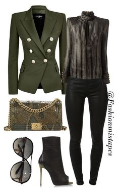 """Untitled #21"" by divamanda on Polyvore featuring Balmain, Giuseppe Zanotti, J Brand, Chanel and Tom Ford"