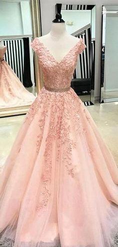 V Neck Cap Sleeves Peach Lace A-line Long Evening Prom Dresses, Cheap Sweet 16 Dresses, 18446 de bal longues Dresses For Teens, Trendy Dresses, Elegant Dresses, Beautiful Dresses, Nice Dresses, Dresses Online, Tailored Dresses, Casual Dresses, Casual Outfits