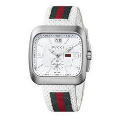 21f770188a7 Gucci Men s YA131303  Coupe  White Leather Strap Watch