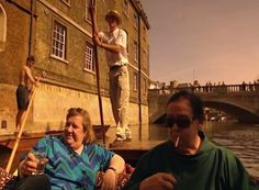 The Cambridge Eight. Two Fat Ladies: Series Three, Episode Three. Location: The Boat Club, Cambridge University. Cooked for the Cambridge Eight. The recipes were Asturian Bean and Sausage Soup; Rabbit Isabel; Peas with Lettuce; and Cheese and Honey Pie.