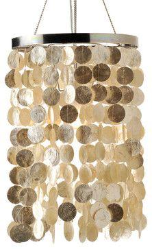 Capiz Seashell Tubular Pendant Lamp contemporary chandeliers