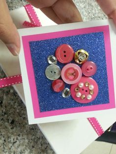 Button Art Homemade Birthday Card Inspired Dorothy Greif Home Made Cards