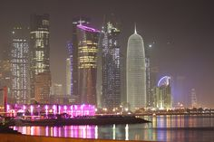 A night view of Doha