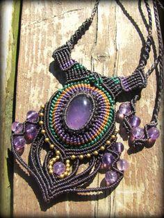 アメジスト ネックレス ハンドメイド手編みネックレス*紫水晶*アメシスト*天然石*マクラメ - Tuwa Earth Crafts
