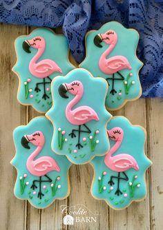 Pink Flamingo Decorated Cookies