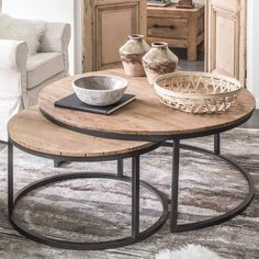 Industrial nesting tables in elm and metal Transition Round Coffee Table Sets, Coffee Table Tray, Coffee Table Styling, Moroccan Decor Living Room, Home Living Room, Living Room Decor, Iron Furniture, Table Furniture, Living Room Furniture
