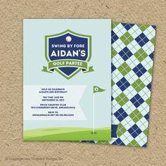 golf birthday party invitation - country club argyle via Etsy