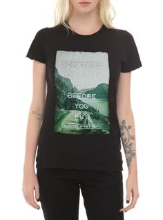 """Fitted tee from Sleeping With Sirens with a """"Sometimes You Gotta Fall Before You Fly"""" photo design."""