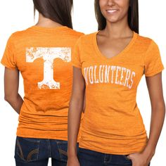 Tennessee Volunteers Women's Slab Serif Tri-Blend V-Neck T-Shirt - Tennessee Orange