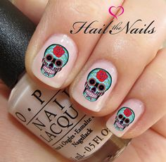 Nail WRAPS Nail Art Water Transfers Decals - 20 Red Rose Sugar Skulls Y229 on Etsy, $3.43