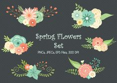 LIMITED TIME, Wedding Floral Clipart, Flower Clipart, Scrapbook Flowers, Vector Flowers, Spring Flowers Clipart, Digital Wedding Clipart