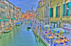 Venice canals and sidewalk cafes