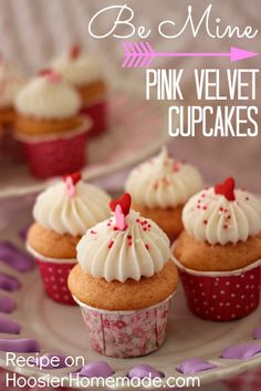 Pink Velvet Cupcakes for Valentine's Day: Recipe from Addonizio Price Homemade. Pink Velvet Cupcakes, Love Cupcakes, Yummy Cupcakes, Cheesecake Cupcakes, Vanilla Cupcakes, Valentine Day Cupcakes, Valentines Day Desserts, Cupcake Recipes, Cupcake Cakes