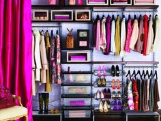 closet organization.  Love the color in the closet!