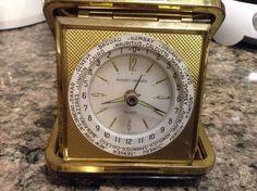 Vintage Phiney-Walker Wind Up Travel Alarm Luminous Clock World Time Germany Run